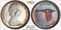 1967 CANADA GOOSE SILVER DOLLAR PCGS PL66CAM COLOR UNC BEAUTIFUL TONED (DR)