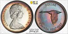1967 CANADA GOOSE SILVER DOLLAR PCGS PL66CAM COLOR UNC BEAUTIFUL TONED (DR)