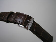 18MM BROWN LEATHER BAND STAINLESS STEEL SMALL LOGO BUCKLE FOR OMEGA WATCH