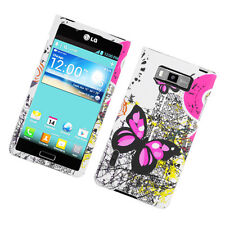 For LG Optimus Showtime L86c Rubberized HARD Case Phone Cover Butterfly