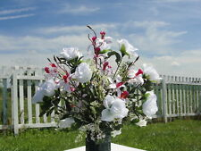 Mother Sister Urn Headstone Grave Silk Flowers Japanese Pink Orchids Roses 20x18