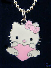 Hello Kitty w/ pink heart charm pendant Chained Necklace