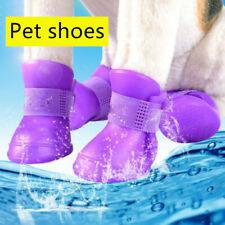 4PCS Waterproof Pet Dog Rain Shoes Anti-slip Puppy Rubber Boots Paw Protector