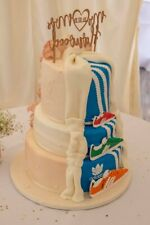 Personalizado De Boda Personalizado Cake Topper Doble Cara Brillo Color Elegante