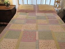 Pottery Barn Kids Patchwork Chic Shabby Floral  2-side Quilt & Eyelet Edge Shams