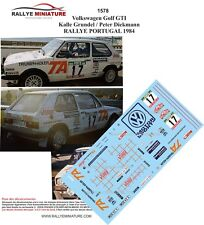 DECALS 1/43 REF 1578 VW VOLKSWAGEN GOLF GTI GRUNDEL RALLYE PORTUGAL 1984 RALLY