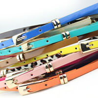 New Women's Ladies Skinny Buckle Waist Belt Thin Leather Narrow Waistband tx