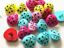 20pcs Ladybug 15mm Plastic Buttons Sewing / Appliques / Baby's Crafts Lots Color