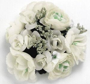 4 Kerzenringe Rosen Weiss Tischdeko Kerzen Kranz Hochzeit Party Blume Set