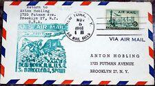 Brief New York USA 1948 U. S. Air Mail FFC Barcelona Spanien (52