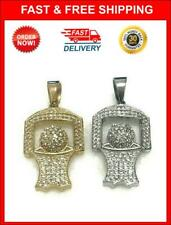 """(Set Of 2) Gold & Silver Stainless Steel Mini Basketball Pendant (approx. 2"""")"""
