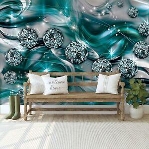 Vlies Fototapete 3D ABSTRAKT Kunst Diamant Blau Schlafzimmer Türkis + KLEISTER