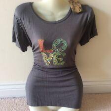 New tag RRP £20 natural life grey t shirt love 95% rayon large 14 16 ladies