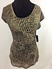 A.N.A A New Approach Brown Glitter Animal Print Sleeveless Top Sz S NWT $16