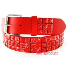 Pyramid Studded Snap On Leather Belt S 30-32 Red Row