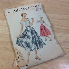 Advance Vintage 1940s Sewing Pattern #5509 Scoop Blouse Circle Skirt Sz 12 UNCUT