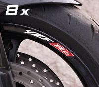 8 x YZF-R6 small wheel decals rim stickers yzf r1 laminated set