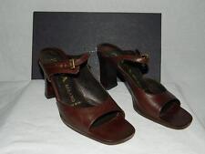 Prada Brown Leather Open Square Toe Slip-in Shoe/Sandal w/Chucky Heels , Size 37