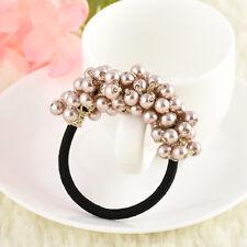 Fashion Rhinestone Crystal Pearl Hair Band Rope Elastic Ponytail Holder Woman