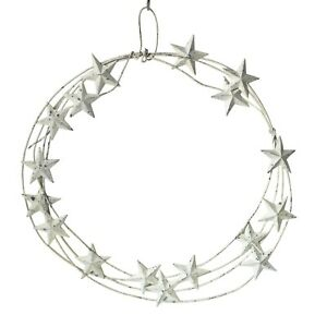 White Metal Star Wreath, Rustic Door Wall Decoration, Xmas Indoor Outdoor, 50cm