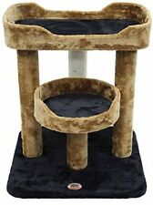 Cat Scratcher Furniture Cat Tree Perch Scratching Post Two Tier Fur Covered