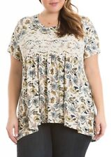 NEW Eyeshadow Plus Size Floral Print Lace Trim Babydoll Swing Tee Blouse 3X