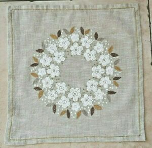 Embroidered tablecloth with white flowers from Sweden