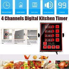 4 Channels Kitchen Timer Commercial Cooking Timers Adjustable Alarm Reminder