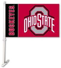 Ohio State Buckeyes NCAA Car Window Flag With Wall Bracket  NEW