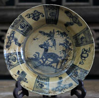 ZC Stunning Chinese blue and white porcelain plate painted animal deer signed