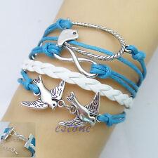 New Handmade Infinity Silver Bird Leather Bracelet Wristband Cheap