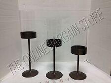 Frontgate Glass Hurricane Pillar Candle Stands Holders Mantel Decor Set 3
