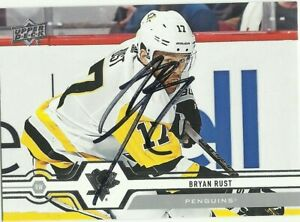 BRYAN RUST AUTOGRAPHED PITTSBURGH PENGUINS CARD