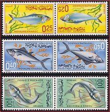 1967 MAROC N°514A/516A** La série tête-Bêche,  POISSONS, 1967 MOROCCO Fishes MNH