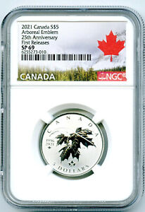 2021 $5 CANADA SILVER NGC SP69 MAPLE LEAF ABOREAL EMBLEM FIRST RELEASES RARE