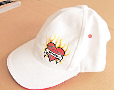 Team ski-doo Adjustable Cap Hat, White Red Heart Flames Barbed Wire