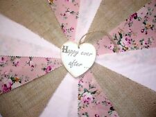 Fabric Bunting Hessian Pink Floral Wedding Celebration Decor 3m  - Wild Rose