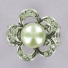 Pearl Flower Stretch Ring Fashion Bling Dinner Rhinestone Silver One Size NEW