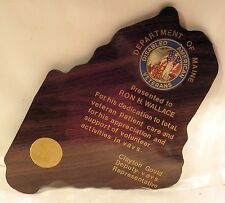Disabled American Veterans Department of Maine Wooden Plaque/Award