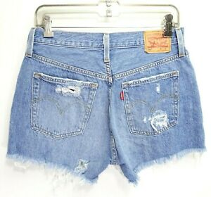 New Levis Womens UpCycled 501 100% Cotton Denim Raw Hem Jeans Shorts 26 To 28