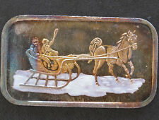 SilverTowne Horse and Sleigh Enamel Silver Art Bar ST-11VEN Lot P1614
