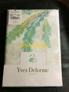 New Yves Delorme Evasion Queen Flat Sheet Tropical Butterfly Birds Cotton Sateen