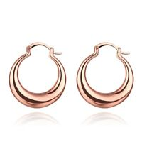 Rose Gold over White Gold Plated Round Hoop Earrings
