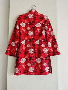 Shanghai Tang Silk Red Embroidered Floral Kimono Jacket Xs/S (possibly Vintage)