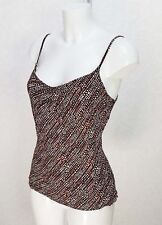 M&Co black white orange Spotted Viscose Strappy vest top Fitted cami size 14