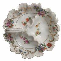VICTORIA Czechoslovakia Porcelain Dresden Floral Divided Dish Finger Loop Handle