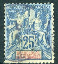 GUADELOUPE-1900-01 25c Blue Sg 51 FINE USED V17254