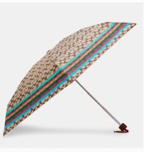 COACH UV Protection Mini Umbrella In Signature SV/Khaki/Legacy New With Tag