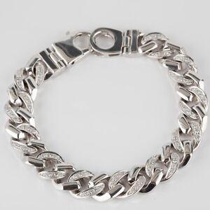 2.50 Ct Men's Miami Cuban Link Diamond Bracelet 14k Solid White Gold 85.6 g 9''