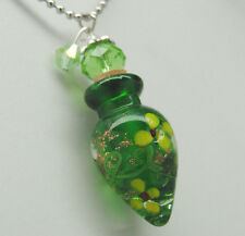 Art Glass Cremation Jewelry In Green    Handmade Jewelry For Human Or Pet Ashes